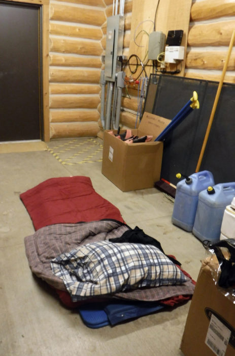 My five-star accommodation at Coal Bank Landing was utility room that Casey, the camp steward, let me use for the night. The concrete floor, as hard and as cold as it was, was better than a soggy tent in the rain.