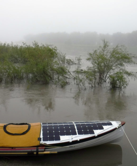 After my night in the utility room at Coal Bank Landing I woke up and checked the extent of the rising river's flooding, as well as the foggy morning I had ahead of me.