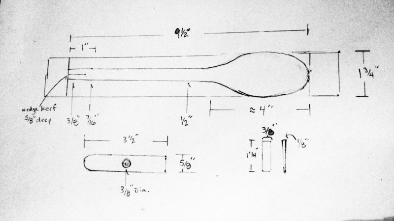 The author's sketch provides dimensions for the hammer's handle, head, and wedge.