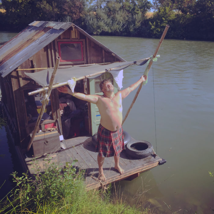 I welcomed the rising sun after a quiet night on Sutter Slough. Kilt's are well suited to summer travel aboard the shantyboat.