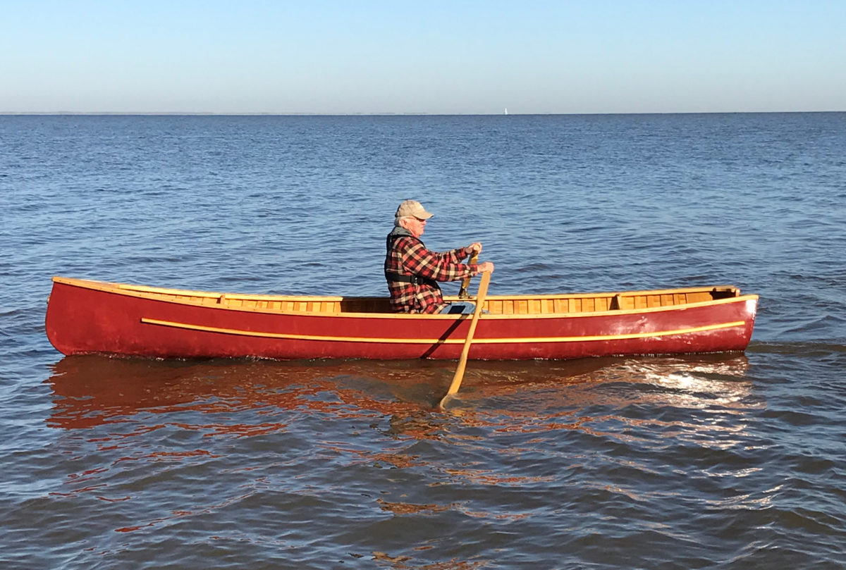 "Jon followed the advice of Spring River Boatworks and installed folding outrigger rowlocks. They each add 4"" to the span, allowing the use of longer oars for a more comfortable stroke."
