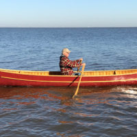 """Jon followed the advice of Spring River Boatworks and installed folding outrigger rowlocks. They each add 4"""" to the span, allowing the use of longer oars for a more comfortable stroke."""