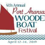 Red, aqua, and white logo for the Port Aransas Wooden Boat Festival