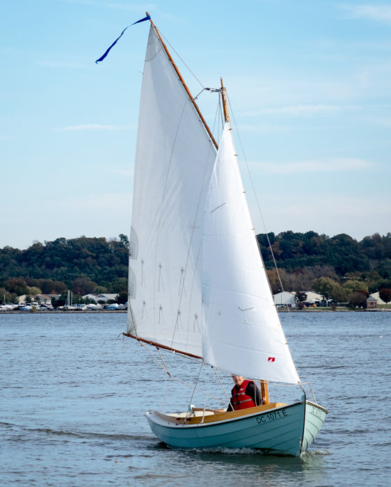 A wire forestay and a pair of Dyneema side stays support the mast.