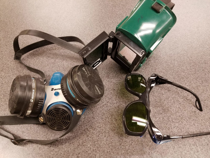Important safety equipment includes a respirator to scrub vapors and fumes and goggles or glasses with Shade 3 lenses for protection from infra-red radiation.