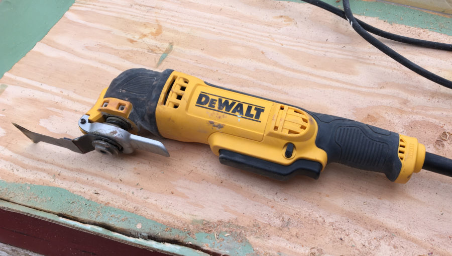The DeWalt multi-tool has a quick-release device for a tool-less change of blades and a variable speed trigger switch.