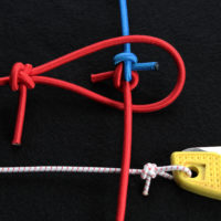 The Angler's Loop (both horizontal) and the Zeppelin Bend (vertical) will hold in bungee cord without coming undone or jamming.
