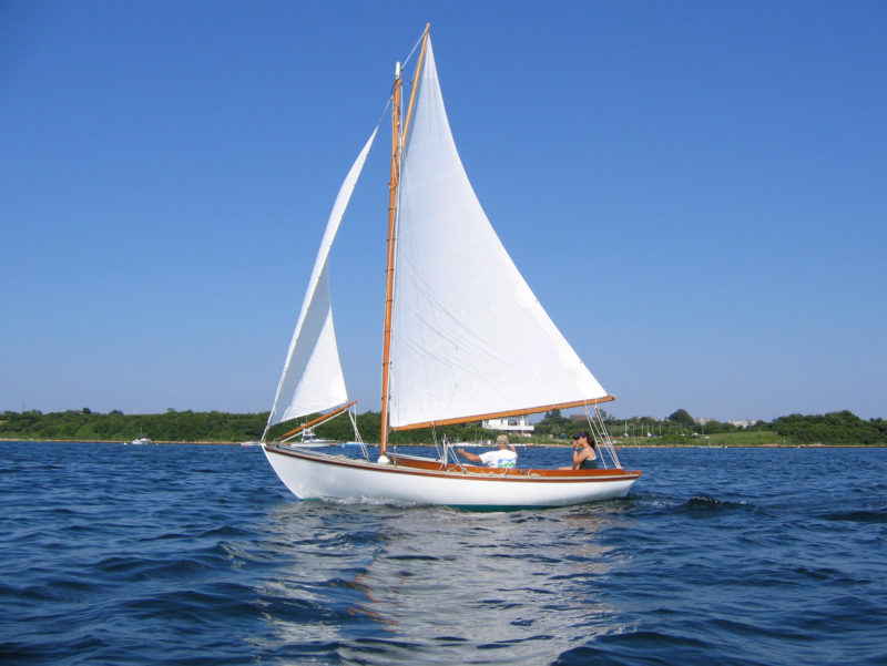 In profile, CHIPS bears a strong resemblance to a Herreshoff 12 1/2, one of the boats that inspired Carl's Block Island 19 design