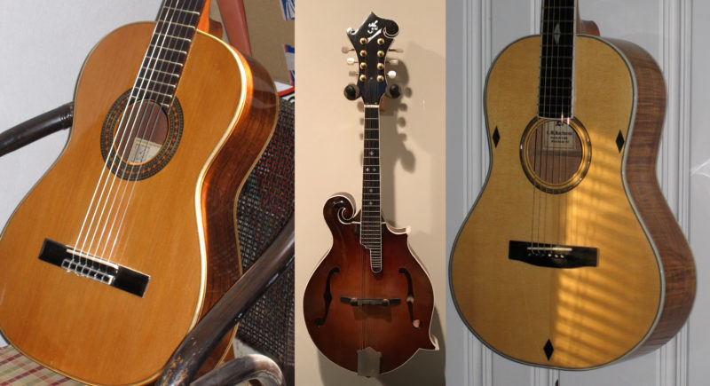 These two guitars and the mandolin are examples of Carl's skills as a luthier.