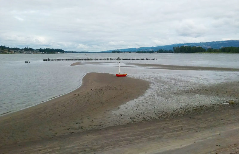At low tide this sand bar stretches downriver from Sand Island. St. Helens, visible on the left, is close by. The island looks quiet here, but on this Sunday afternoon it was teeming with hikers and kayakers.