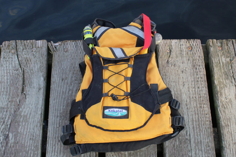 On the back I have a PFD light and pouch for my Sea Seat.