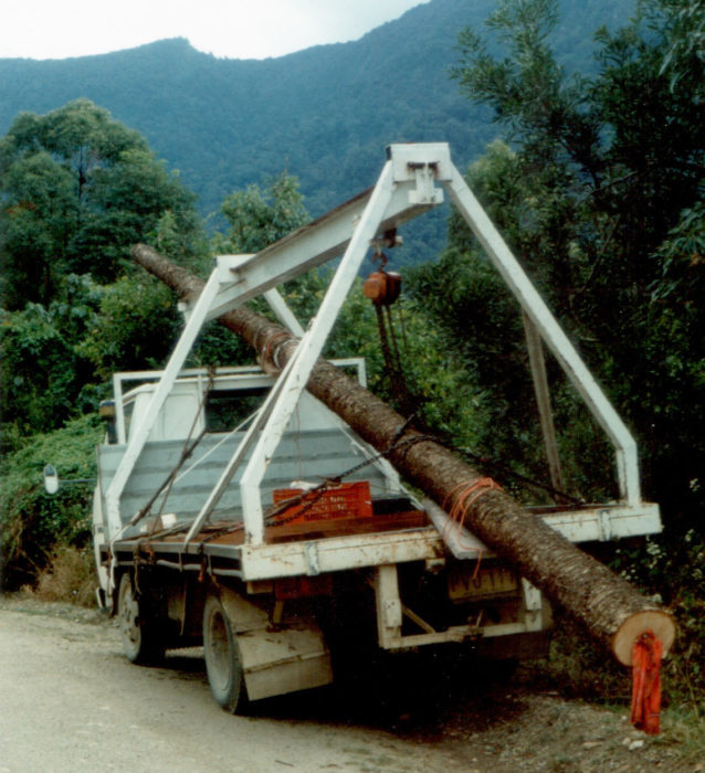When he was running a sawmill business, Peter made a gantry crane to pull logs up on a flatbed truck.