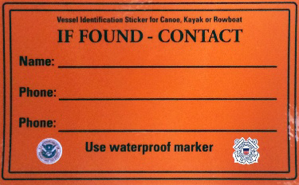 Coast Guard Advises Labeling Paddlecraft, Free Labels Are Available
