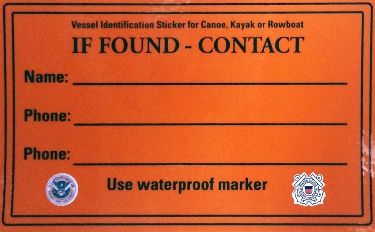 Orange reflective sticker with space for your information from the US Coast Guard