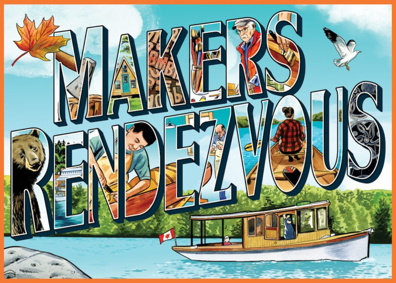 Postcard-style, illustrated announcement for the Makers Rendezvous at Bear Mountain Boats