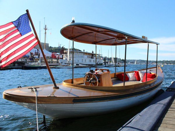 Electric Fantail Launch DORA Available for Charter at The Center for Wooden Boats