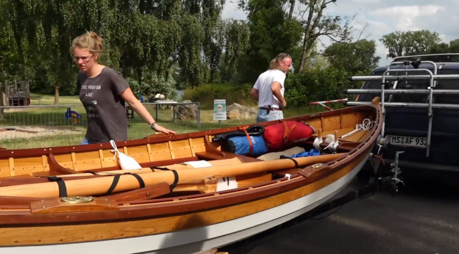Finn and Tereza trailering their boat JILL to Germany